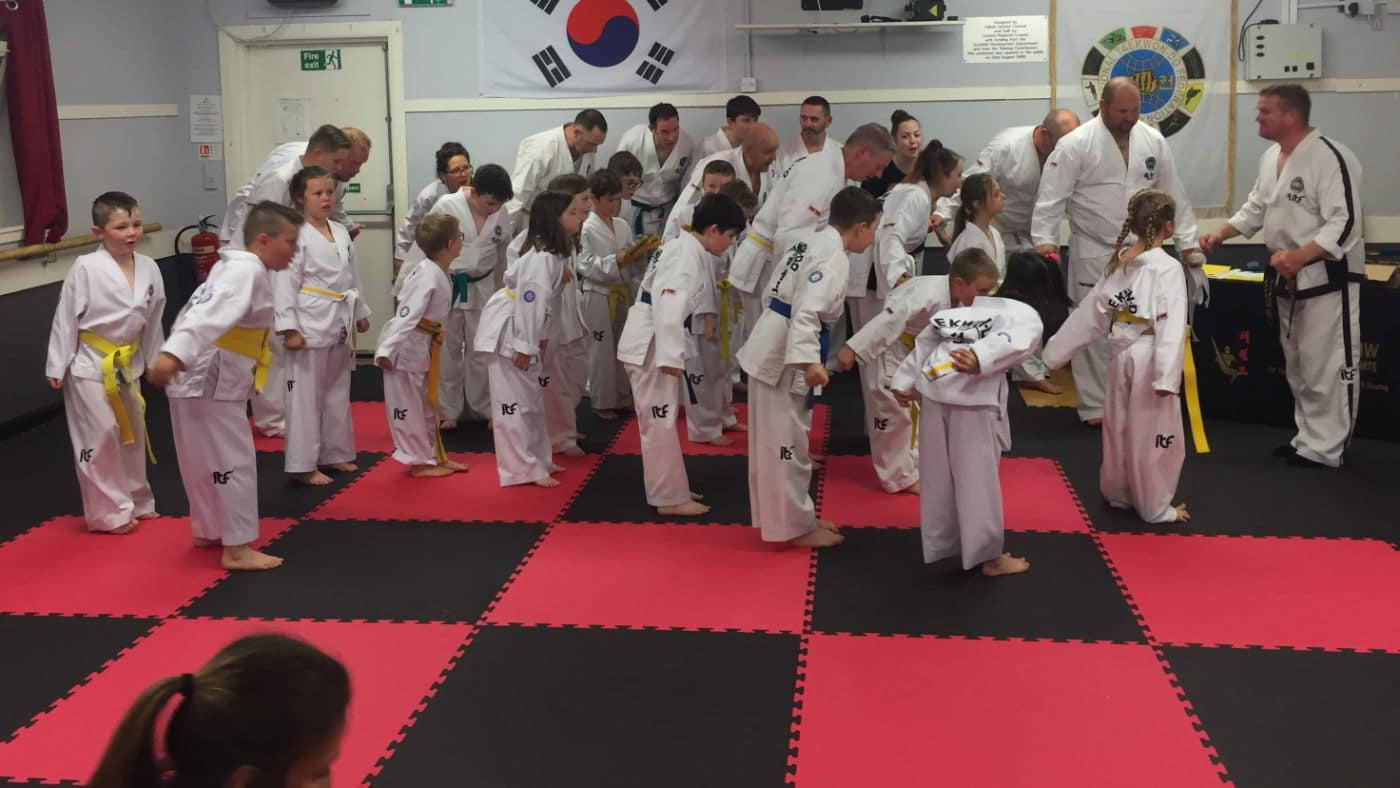 Martial Arts students bowing in Falkirk Dojo