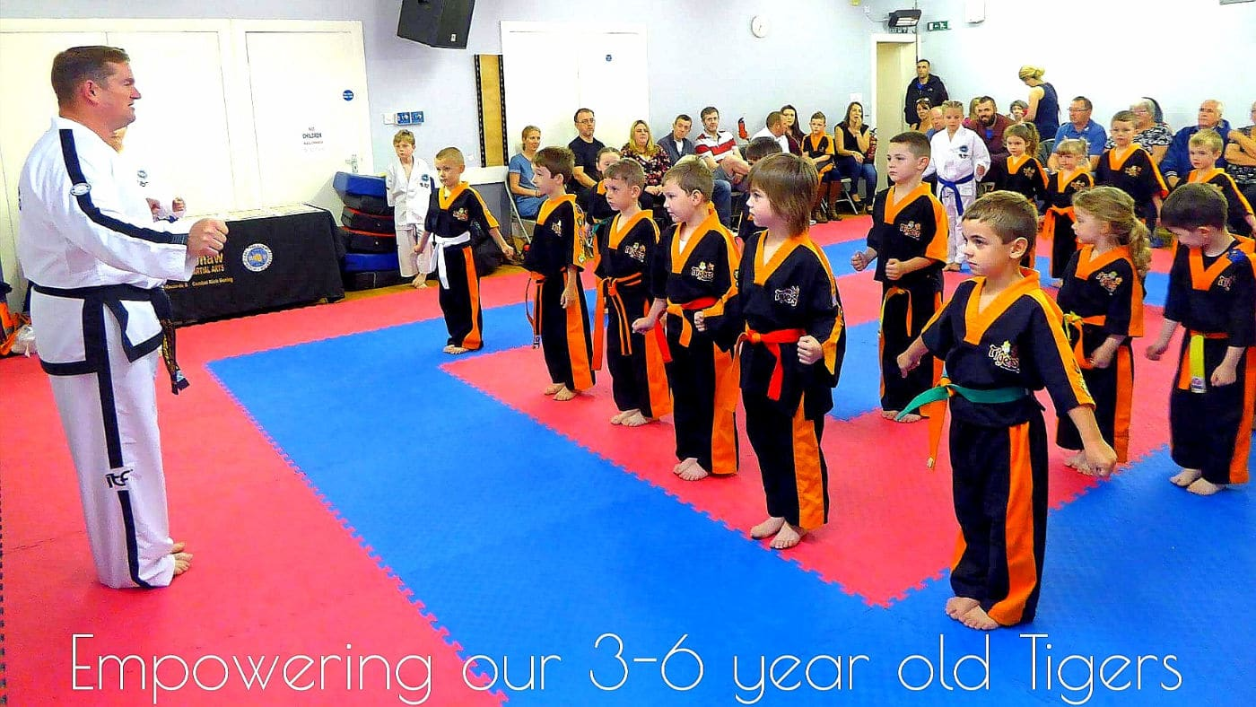 Group of young taekwon-do students about to start class