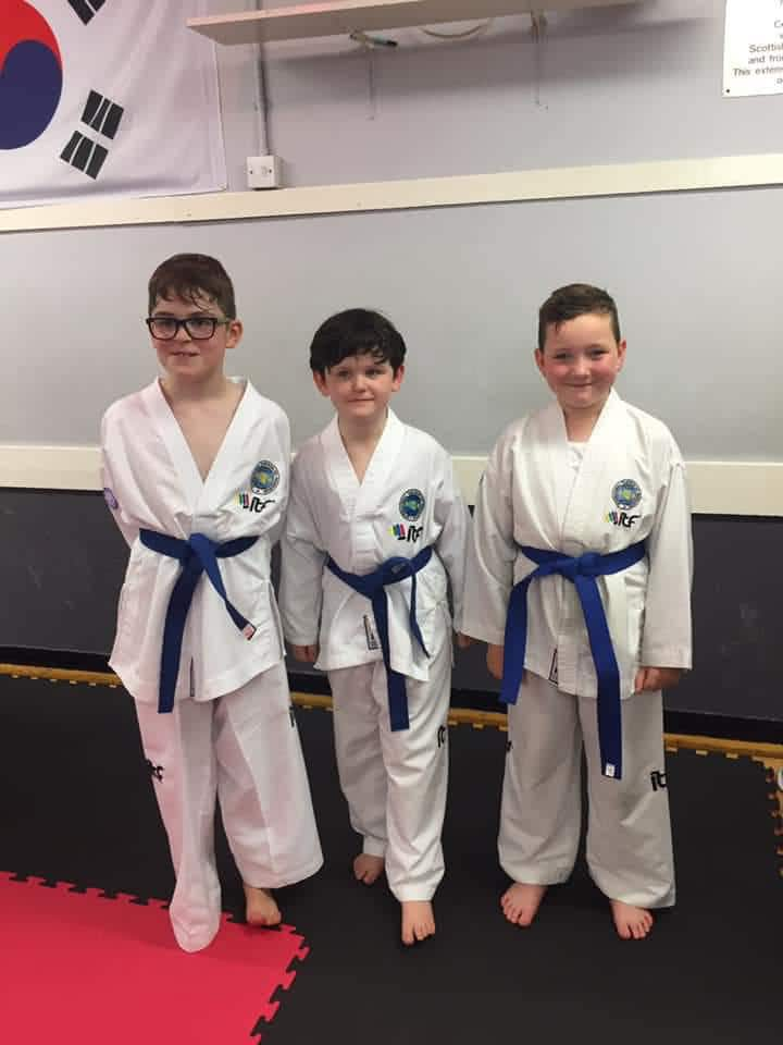 Taekwon-Do students posing for photograph after class